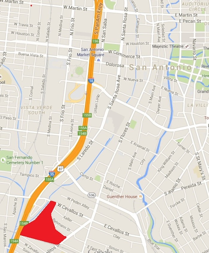 A Google Map of KIPP San Antonio's property on San Pedro Creek.