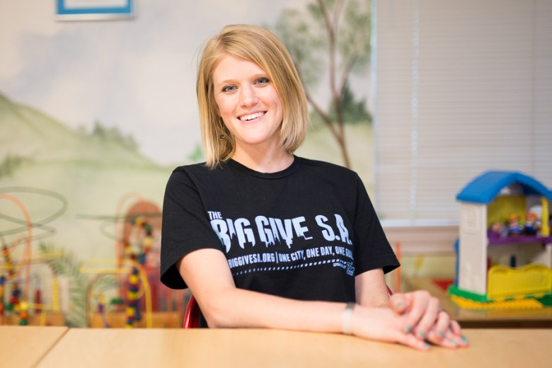 Marketing Manager of Any Baby Can, Stephanie Jerger poses for a photo during the 2015 BigGiveSA. Photo by Scott Ball.