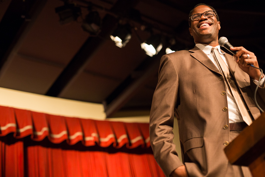 Honoree David Robinson gives an address during the IDEA Public Schools luncheon. Photo by Scott Ball.