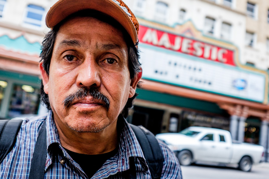 Jesús Mendez poses for a photo in downtown San Antonio. Photo by Scott Ball.