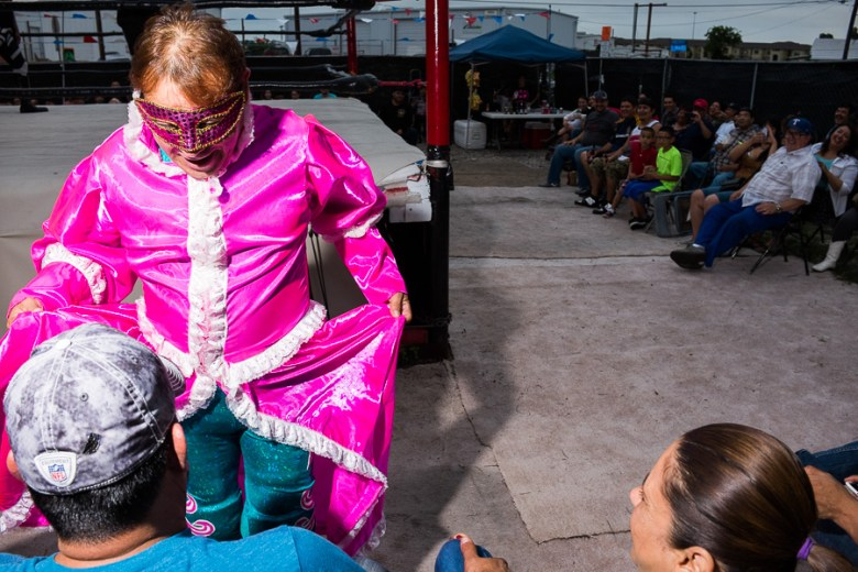 Luchador Karla Maria interacts with the audience. Photo by Scott Ball.