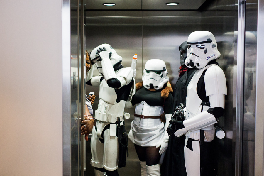 Storm Troopers wait in an elevator during the GDC Star Wars day benefiting the St. Baldrick's Foundation. Photo by Scott Ball.
