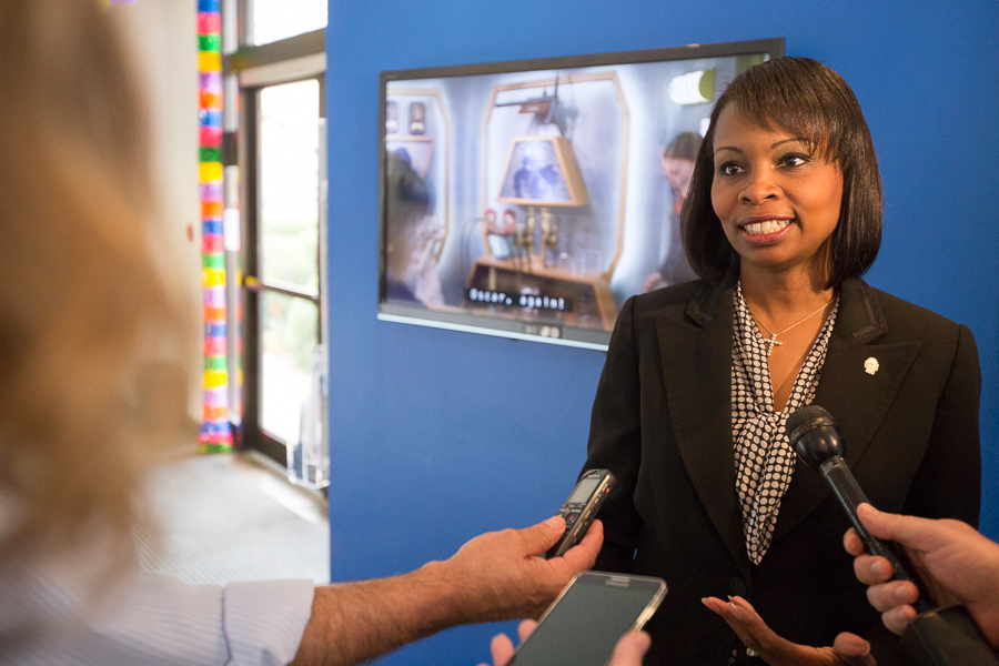 Mayor Ivy Taylor is interviewed after a discussion at KLRN. Photo by Scott Ball.