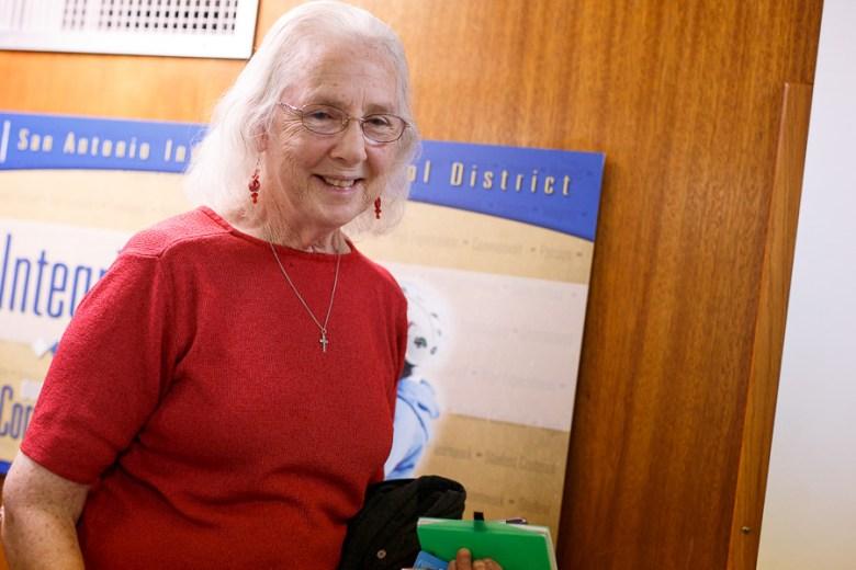 Newly announced SAISD Board President, Patti Radle leaves the board room. Photo by Scott Ball.