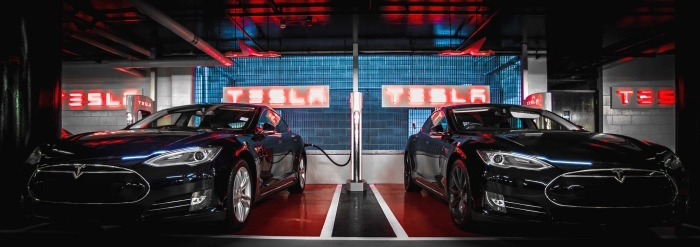 Teslas hooked up to a Supercharger. Photo courtesy of Tesla website.