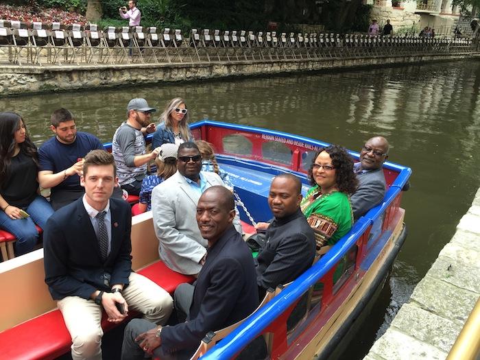 The Namibian delegation takes a ride on the San Antonio River. Courtesy photo.