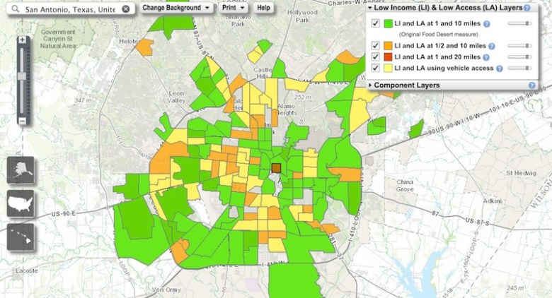USDA map of San Antonio food deserts. Click here for interactive map. http://www.ers.usda.gov/data-products/food-access-research-atlas/go-to-the-atlas.aspx