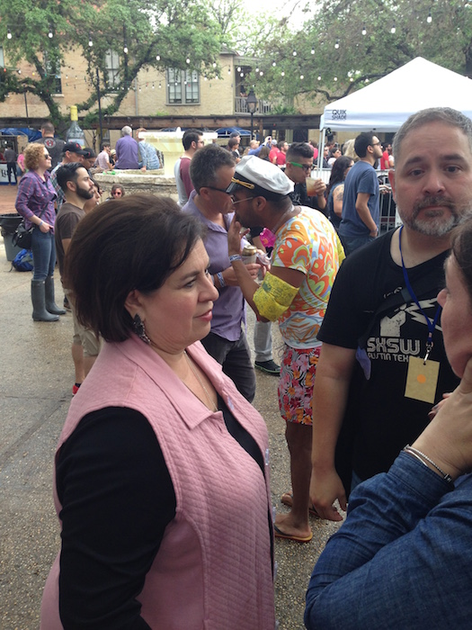 Leticia Van de Putte speaks with attendees during the Maverick Music Festival. Photo by Blayne Tucker.