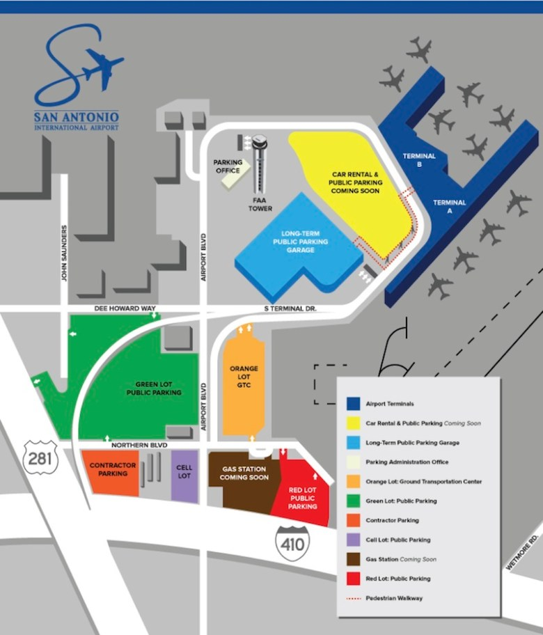 A map of the San Antonio Airport's future construction.