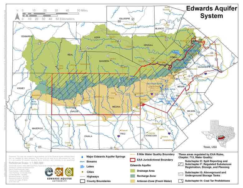 This map outlines the Edwards Aquifer Authority's jurisdiction and the aquifer recharge zone. Map from EAA