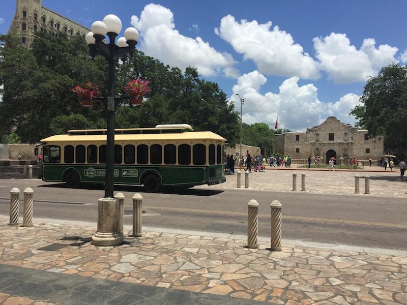 GreetStreet demonstration trolley at Alamo Plaza. Photo courtesy of Hometown Trolley.