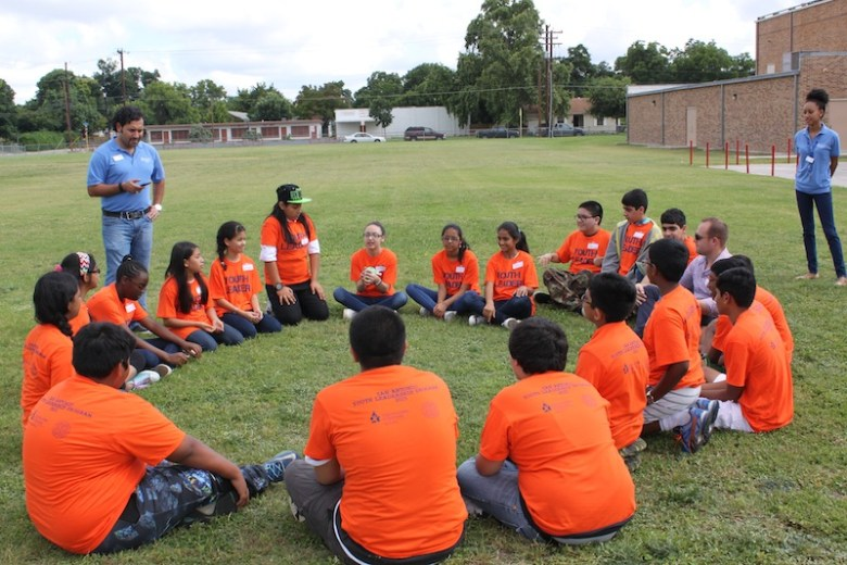 Students sit in a circle at Harlandale Middle School. Courtesy photo.