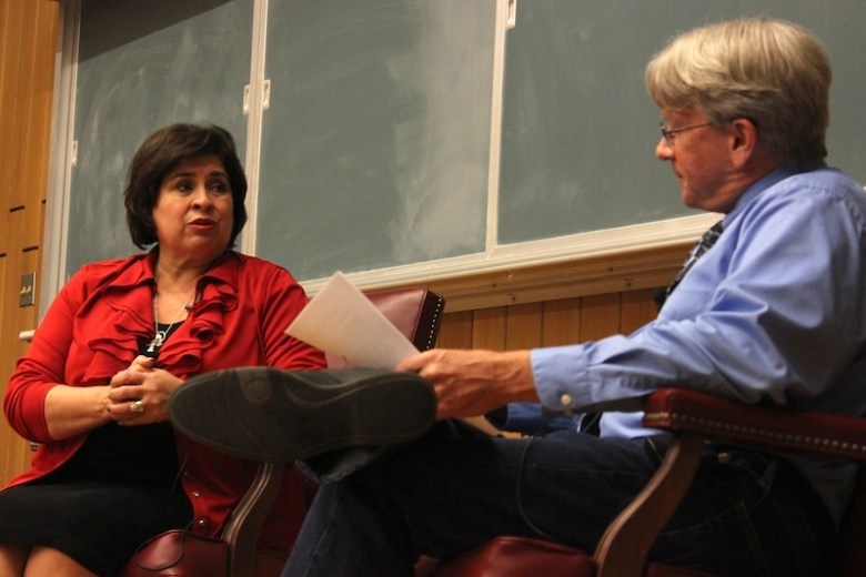 Mayoral candidate Leticia Van de Putte speaks with moderator Peter Bella. Photo by Lea Thompson.f