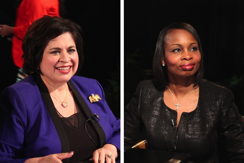 Leticia Van de Putte (left) and Mayor Ivy Taylor (right) at a mayoral forum held at the UTSA Downtown Campus on Thursday, May 28, 2015. Photos by Lea Thompson.