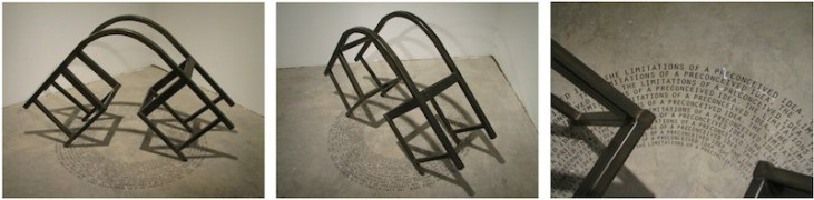 """Benjamin McVey's """"The Limitations Of A Preconceived Idea, 2012, vinyl cut type, steel, 32 3/4 x 53 1/2 x 44 in."""