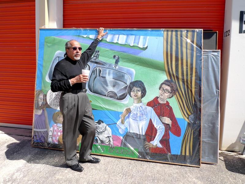 "Mel Casas standing in front of ""Humanscape 68"" (Kitchen Spanish) in February 2010. Photo courtesy Ruben C. Cordova."