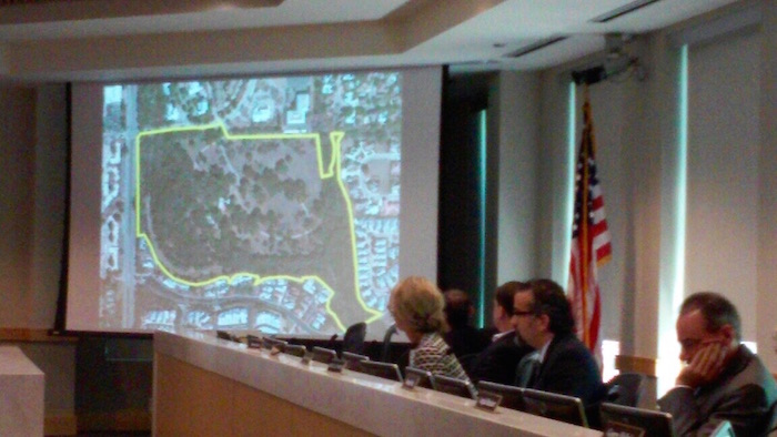 San Antonio Planning Commission view a map of the Tobin Endowment's 46-acre tract on Wednesday. Photo by Edmond Ortiz.