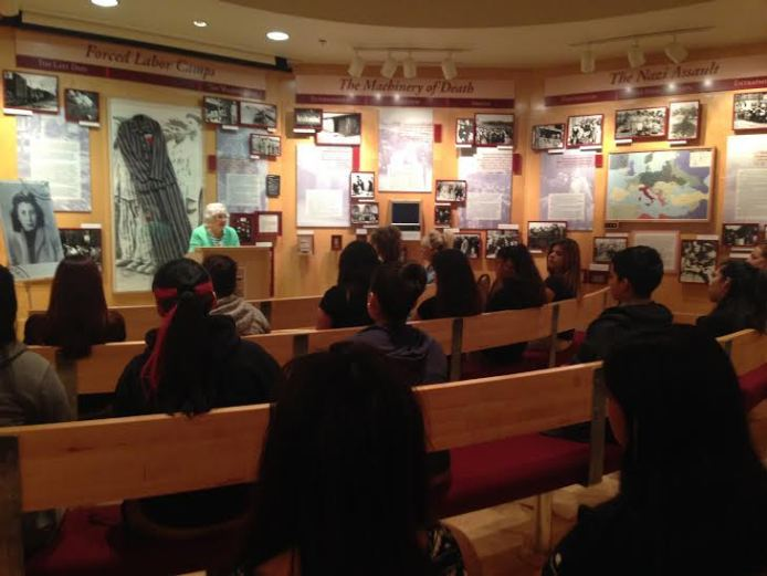 Rose Williams, Holocaust survivor, shares her story with Navarro students at the Holocaust Memorial Museum. Photo by Tamara Sager.