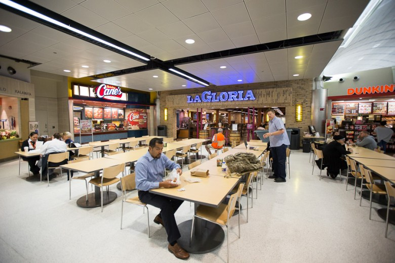 The cafeteria featuring La Gloria at the airport. Photo by Scott Ball.