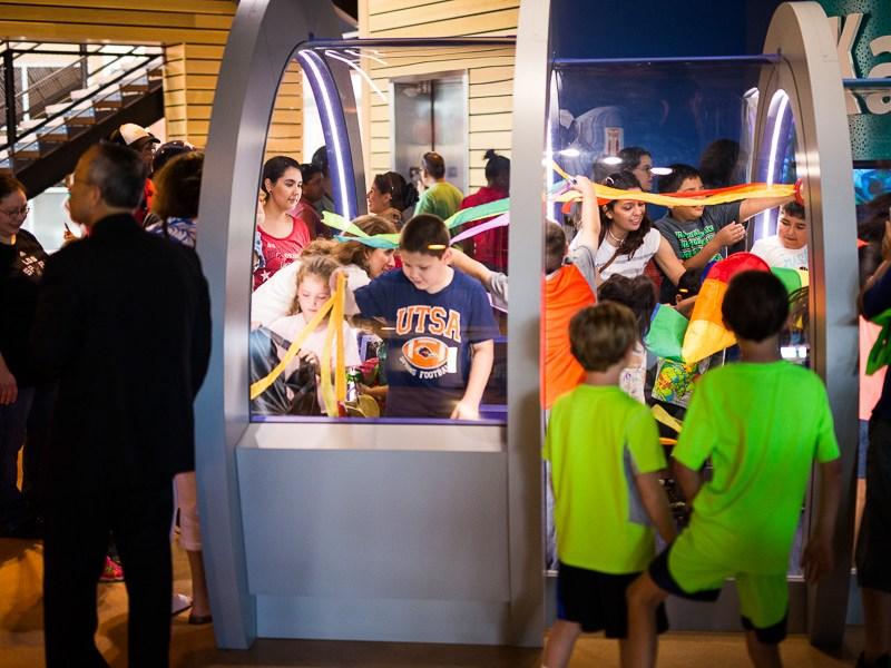 Children flood the wind tunnel. Photo by Scott Ball.