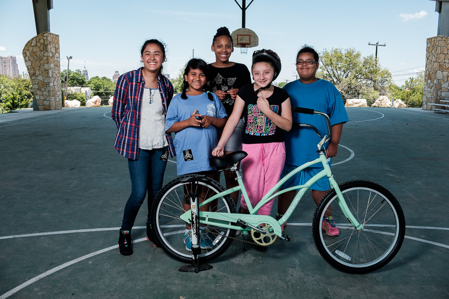 Children from the Martinez Street Women's Center (left to right) Esmeralda (12), Ellie (11), Ashlynn (12), Samantha (11), and Macayla (9). Photo by Scott Ball.