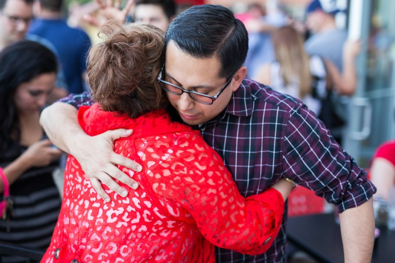Diego Bernal (State Rep. District 123) embraces Di Galvan, Director of Communication for the City of San Antonio. Photo by Scott Ball.