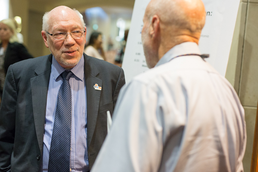John Dugan City of San Antonio planning and community development director talks with a guest. Photo by Scott Ball.