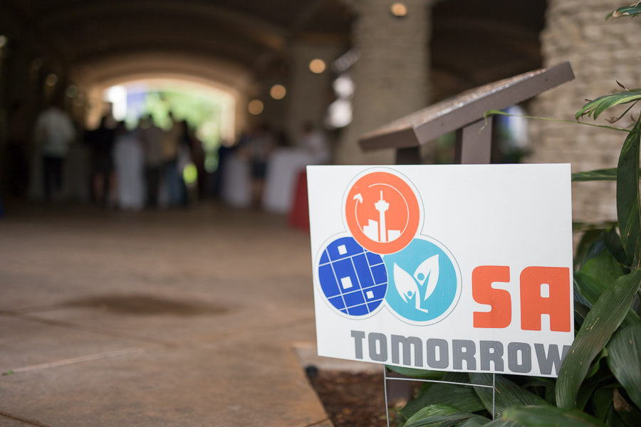 A sign displaying SA Tomorrow near the grotto. Photo by Scott Ball.