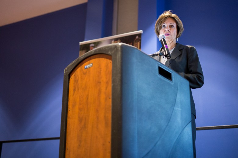 City Manager Cheryl Sculley gives a presentation. Photo by Scott Ball.