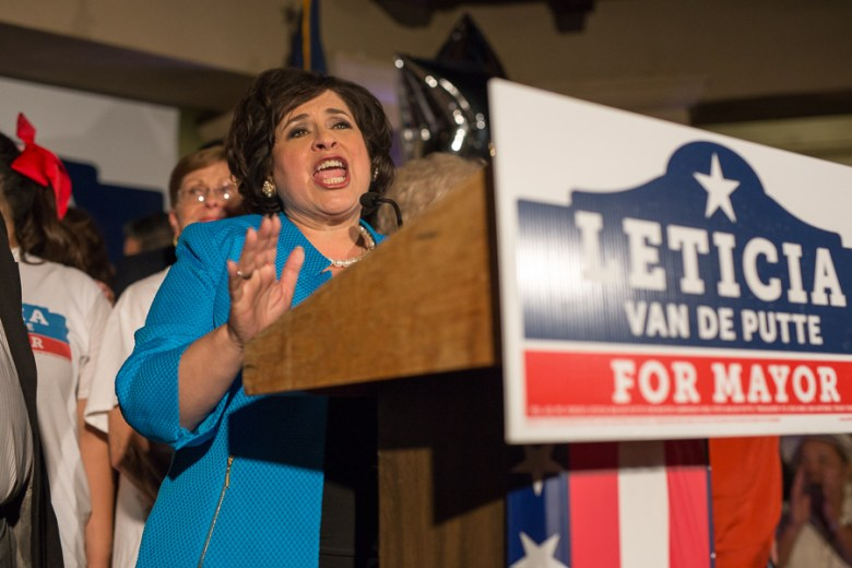 Leticia Van de Putte gives her concession speech at her election party.  Photo by Scott Ball.