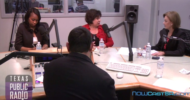 From left: Mayor Ivy Taylor, former Sen. Leticia Van de Putte, and TPR Managing Editor and Senior Reporter Shelley Kofler during the mayoral debate. Screen shot of NOWCastSA's live stream. http://nowcastsa.com/blogs/webcast-texas-public-radio-mayoral-candidate-debate
