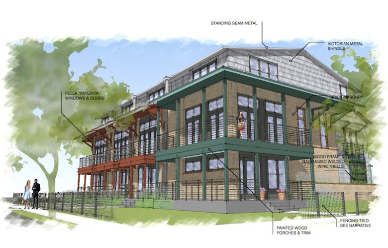 Rendering of the four-unit building. Courtesy image.
