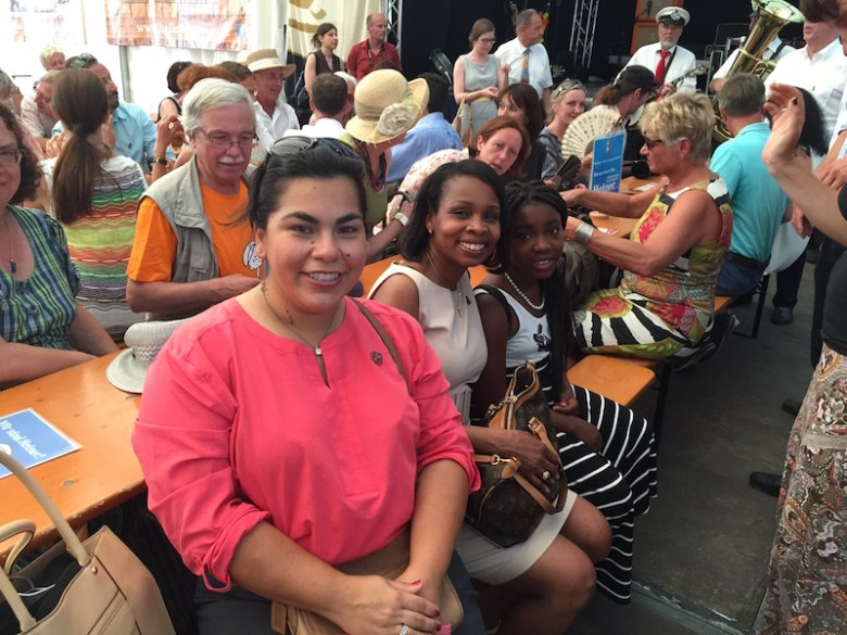 Councilmember Rebecca Viagran (D3), Mayor Ivy Taylor, and her daughter Morgan Taylor enjoy traditional music in Bonn, Germany before the UNESCO World Heritage meeting. Courtesy photo.