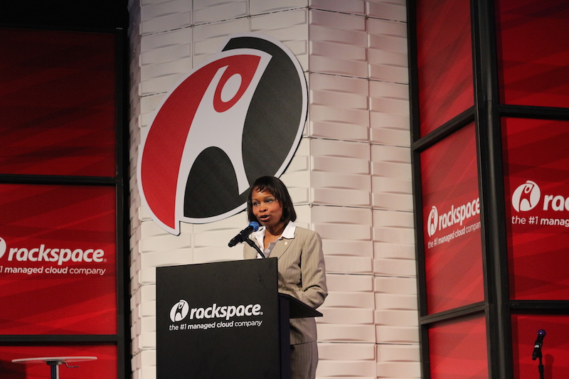 Mayor Ivy Taylor speaks to the audience at Rackspace on Thursday. Photo by Joan Vinson.