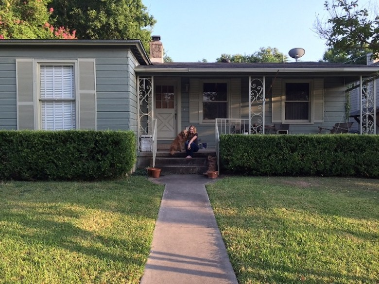 The author and her dog Duncan, circa 2015, in front of their house in San Antonio. Courtesy photo.