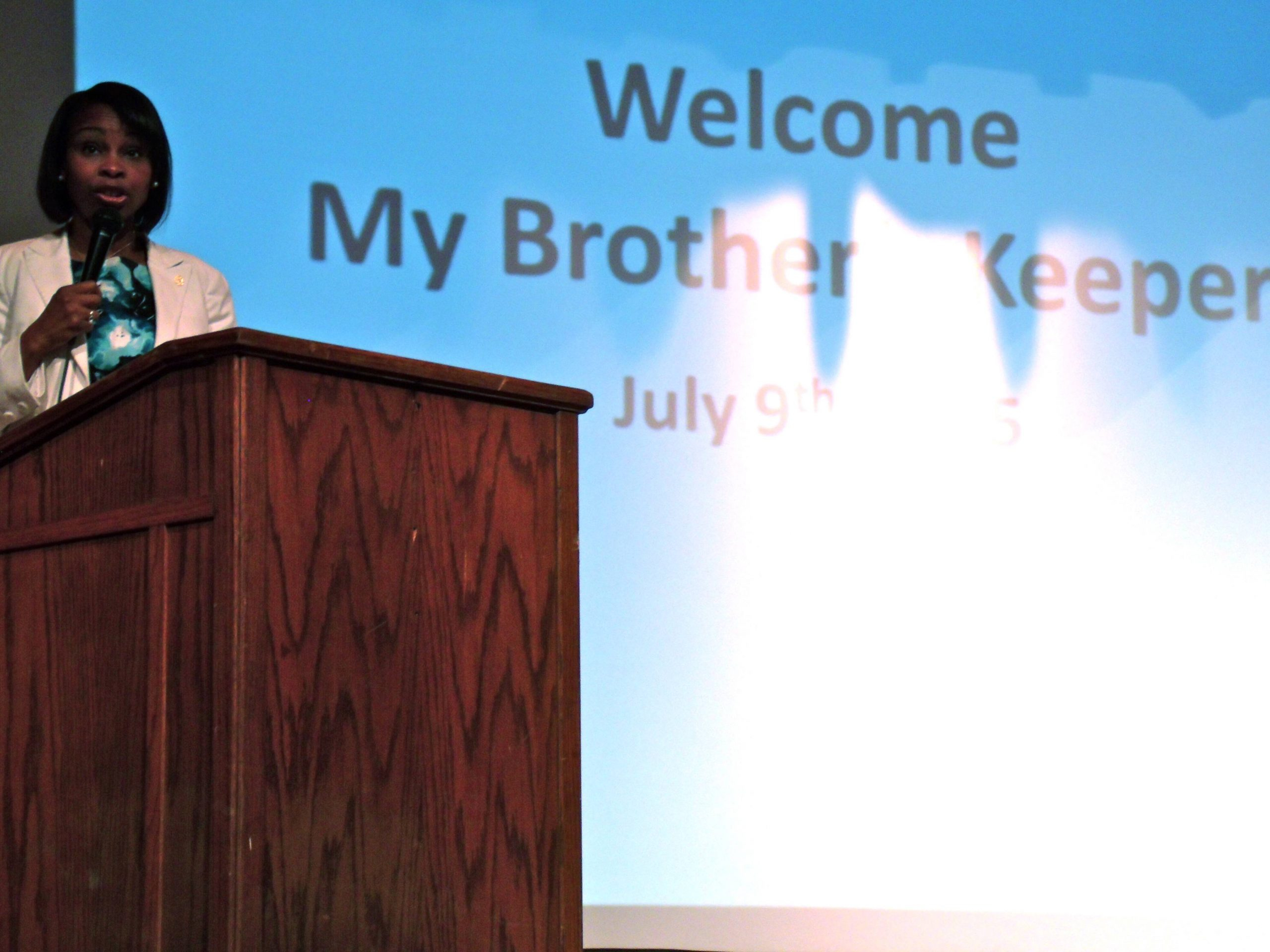 Mayor Ivy Taylor speaks to a crowd of more than 100 people at the My Brother's Keeper forum at Sam Houston High School on Thursday, July 9, 2015. Photo by Edmond Ortiz