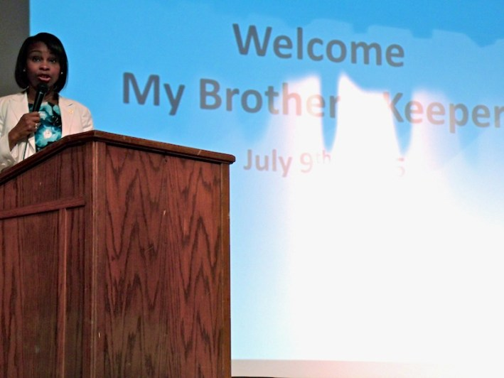 Mayor Ivy Taylor speaks to a crowd of more than 100 people at the My Brother's Keeper forum. Photo by Edmond Ortiz