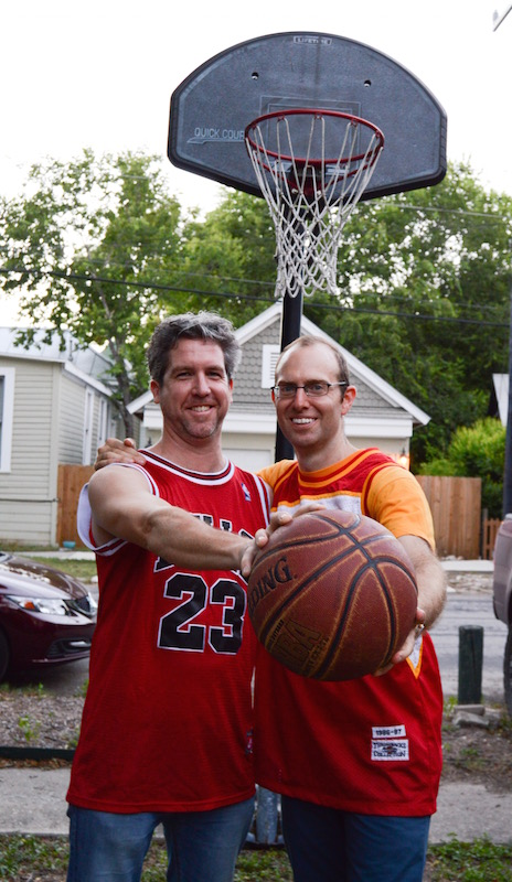 """L to R: Former Ultimate Frisbee teammates Hugh Daschbach and author Asher Price celebrate sportsmanship and Price's new book, """"The Year of the Dunk."""" Photo by Lea Thompson."""