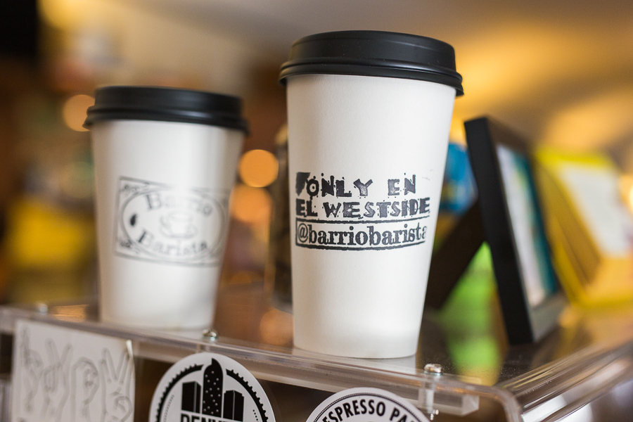 Cups from Barrio Barista Coffeehouse. Photo by Scott Ball.