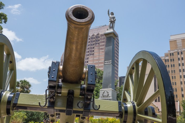 Two Civil War cannons  can be found in Travie Park near the monument dedicated to fallen Confederate soldiers. Photo by Scott Ball.
