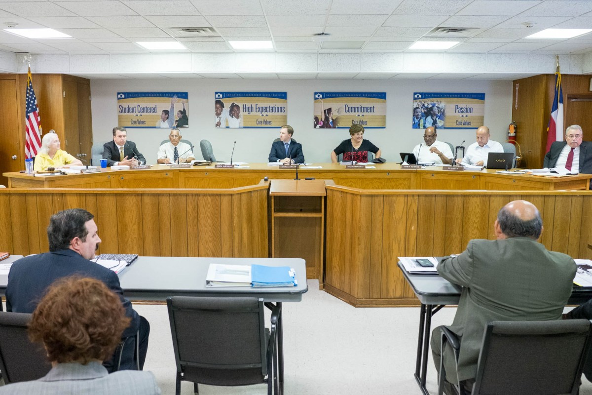 The SAISD Board of Trustees meet in July of 2015. Photo by Scott Ball.