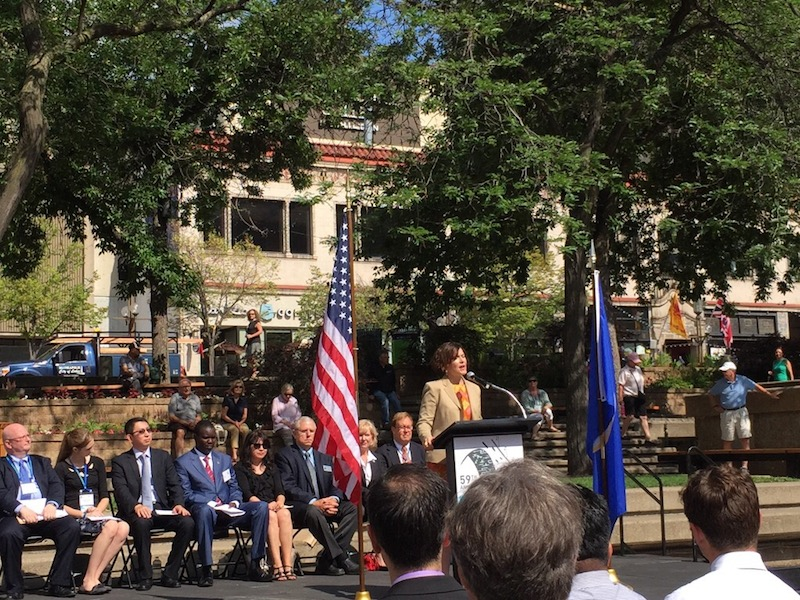 Minneapolis Mayor Betsy Hodges welcomes the Sister City International conference participants. Courtesy photo.