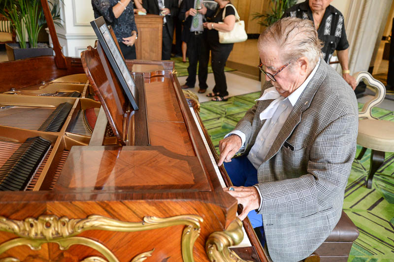 Fernando Herrara, a renowned musician who played at The St. Anthony Hotel in the 1950s, returned for the special event July 21, 2015. Photo by Annette Crawford.