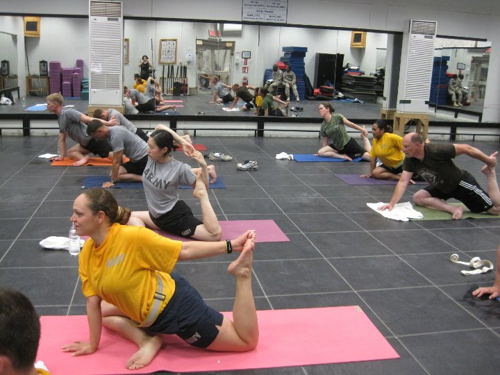 Soldiers participate in yoga classes with Warriors at Ease. Courtesy photo.