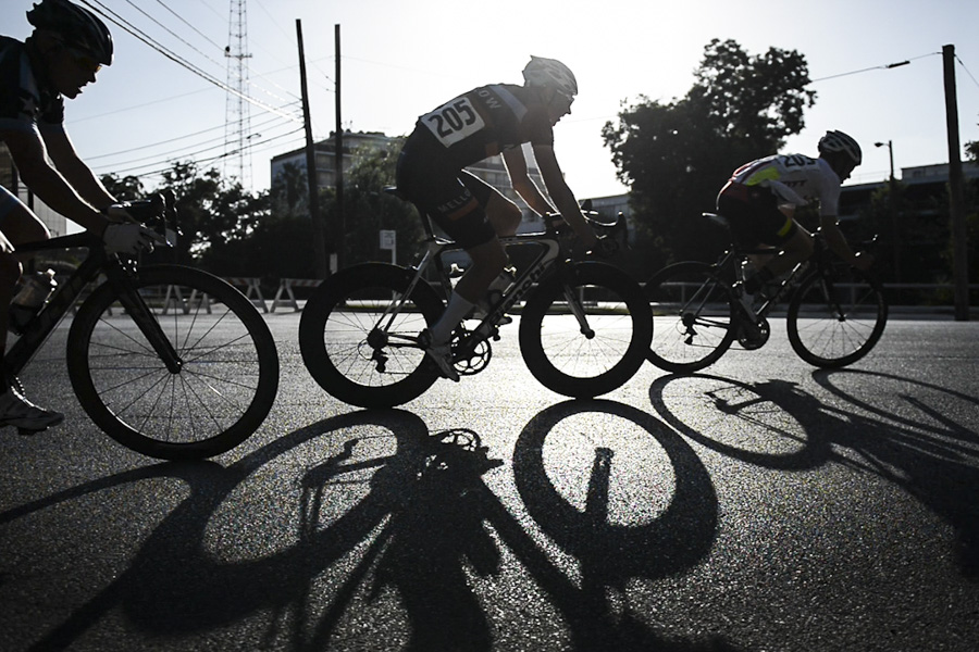 Competitors turn the corner during the inaugural San Antonio Bike Bash 2015 on Saturday, August 8, 2015. The criterium races, spread over two days, had 175 competitors enter. Photo by Matthew Busch.