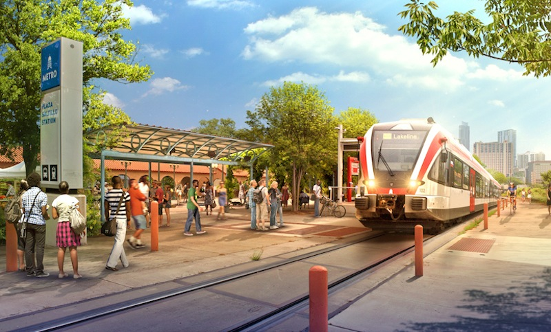 Rendering of a Lone Star Rail (LSTAR) stop in Austin. Courtesy of LSRD.