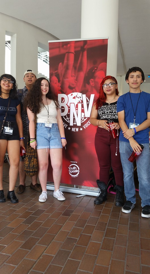 The Fresh Ink 2015 Youth Team at Brave New Voices; from right to left-Kiki Lujan, Eli Ceja, Rebecca Wright, Dominique Arriaga, and Erich Mejia. Photo by Sarah Rodriguez.