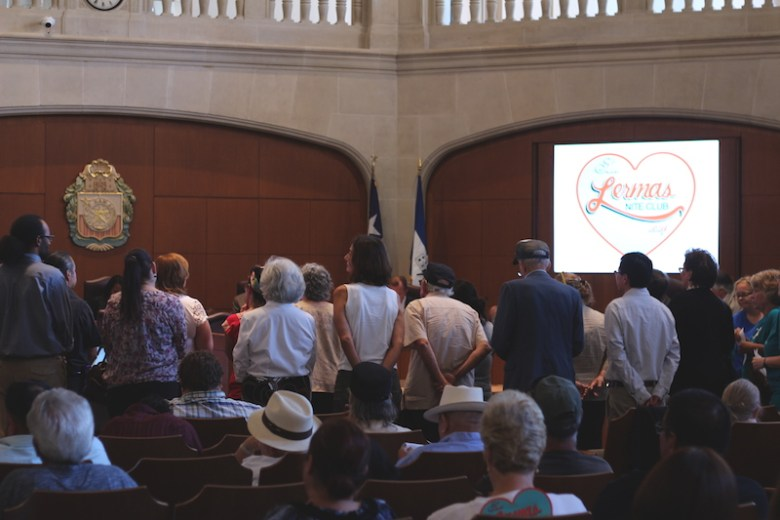 Dozens of people gathered before City Council on Wednesday to plead the case for funds to reopen Lerma's. Photo by Joan Vinson.