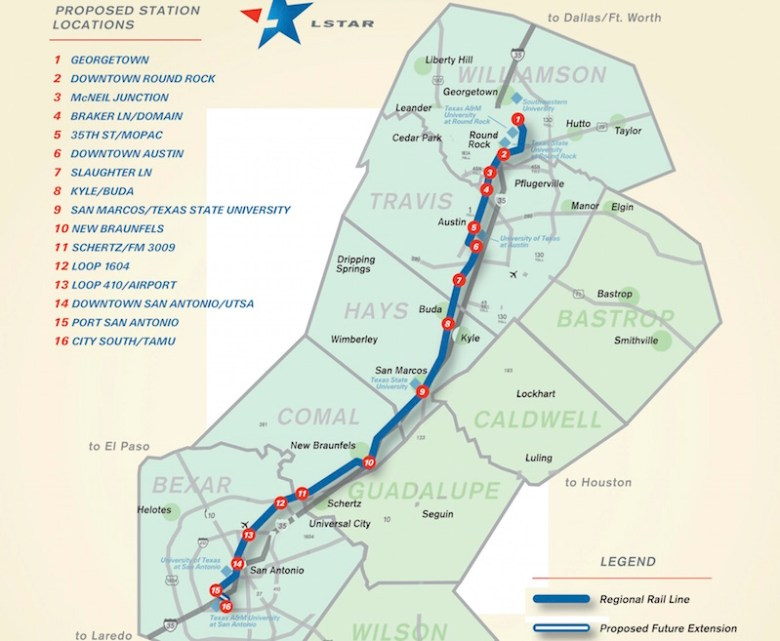 A map of the proposed Lone Star Rail line. Courtesy image.