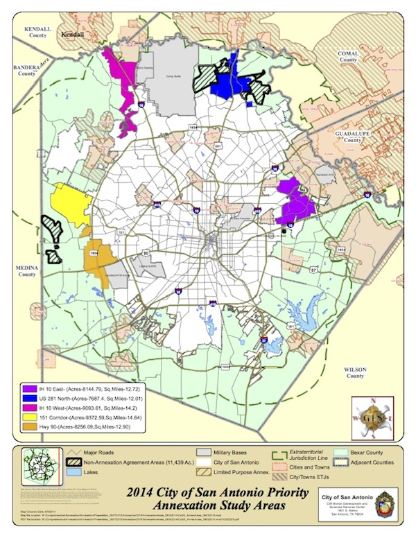 Proposed priority annexation areas based on the City of San Antonio's 2014 study.